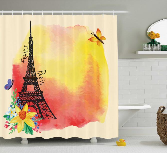 Baharda Paris Temalı Duş Perdesi Eyfel ve Çiçekler