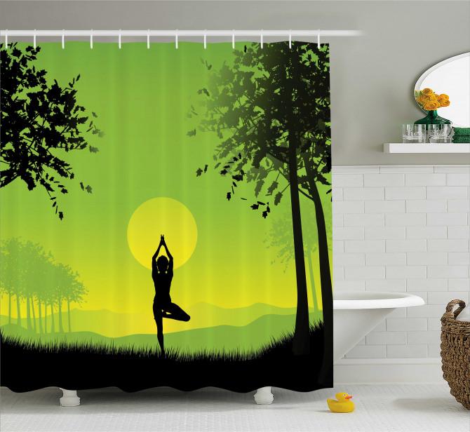 Gün Doğumunda Yoga Temalı Duş Perdesi Yeşil Sarı