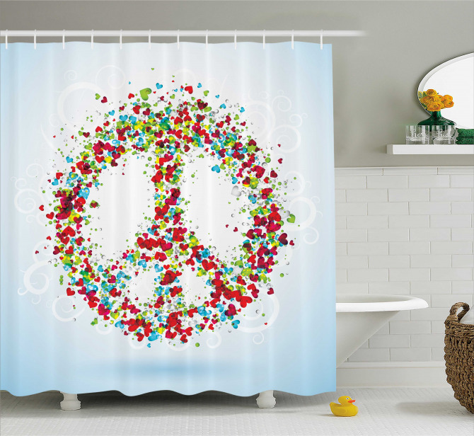 Peace Sign With Hearts Shower Curtain