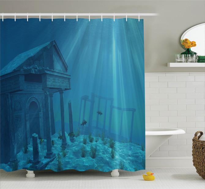 Mavi Duş Perdesi Deniz Altında Antik Şehir Temalı