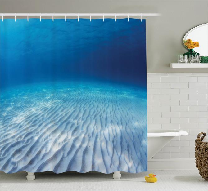 Turkuaz Duş Perdesi Sualtı Yaşam Temalı Okyanus