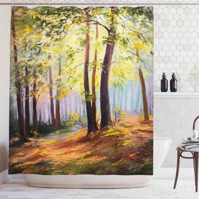 Yağlı Boya Resmi Etkili Duş Perdesi Orman Yeşil Doğa