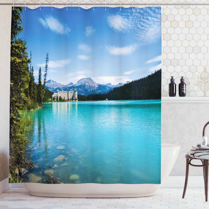 Doğada Huzur Temalı Duş Perdesi Orman Göl Mavi Yeşil