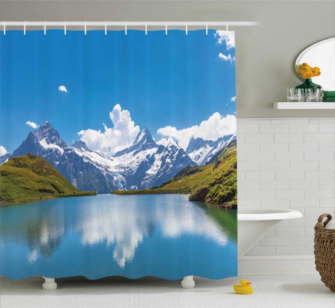 Göl Kenarı Manzaralı Duş Perdesi Karlı Dağlar Mavi