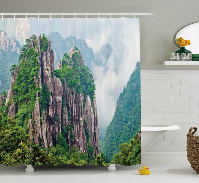 Doğa Manzaralı Duş Perdesi Sisli Dağ Orman Yeşil
