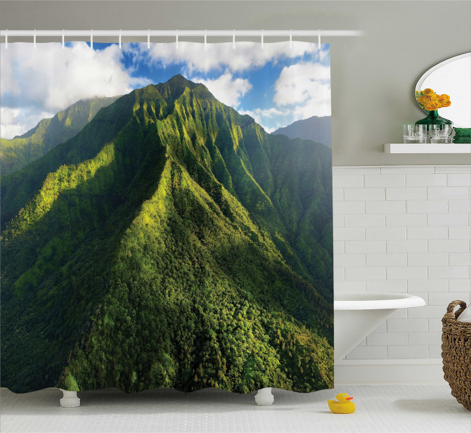 Yeşil Duş Perdesi Dağ Manzaralı Doğada Huzur Temalı