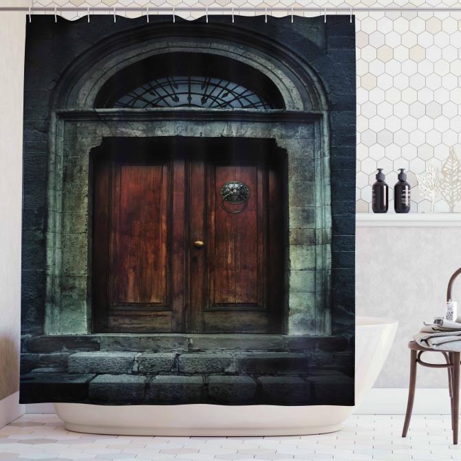 Gotik Tarz Duş Perdesi Antik Tapınak Kapısı Siyah
