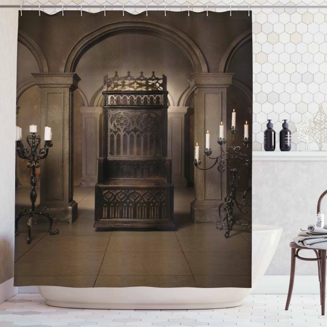 Gotik Tarz Duş Perdesi Antik Kraliyet Tahtı Otantik