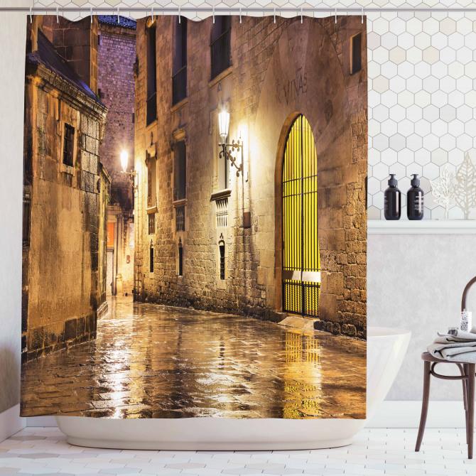 Gotik Tarz Duş Perdesi Nostaljik Barselona Sokağı