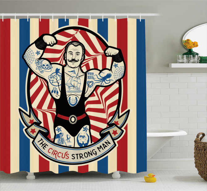 Vintage Circus Star Shower Curtain