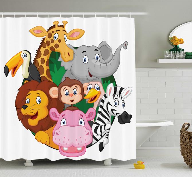 Çocuklar için Duş Perdesi Zebra Aslan Zürafa Maymun