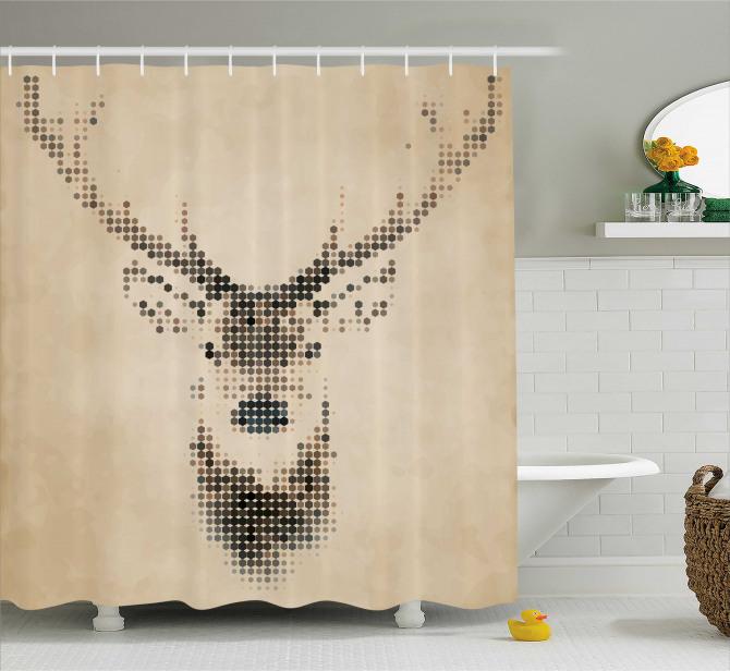 Kahverengi Duş Perdesi Geyik figürü Modern Sanat