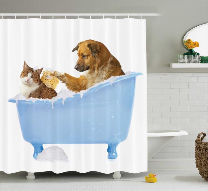 Kedi Köpek Dostluğu Temalı Duş Perdesi Mavi Beyaz