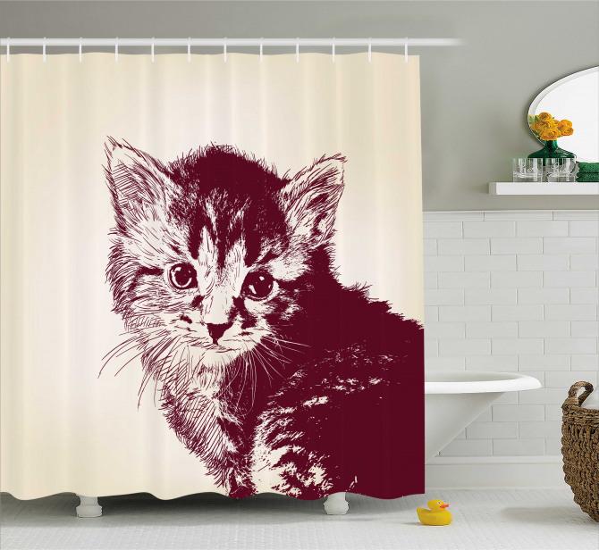 Sevimli Tüylü Kedi Temalı Duş Perdesi Bej Siyah