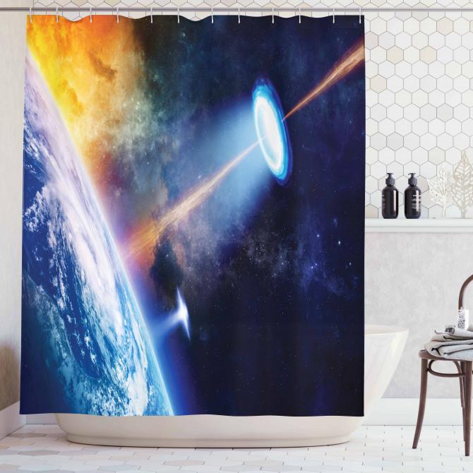 Uzaylı Saldırısı Temalı Duş Perdesi Dünya Kozmos
