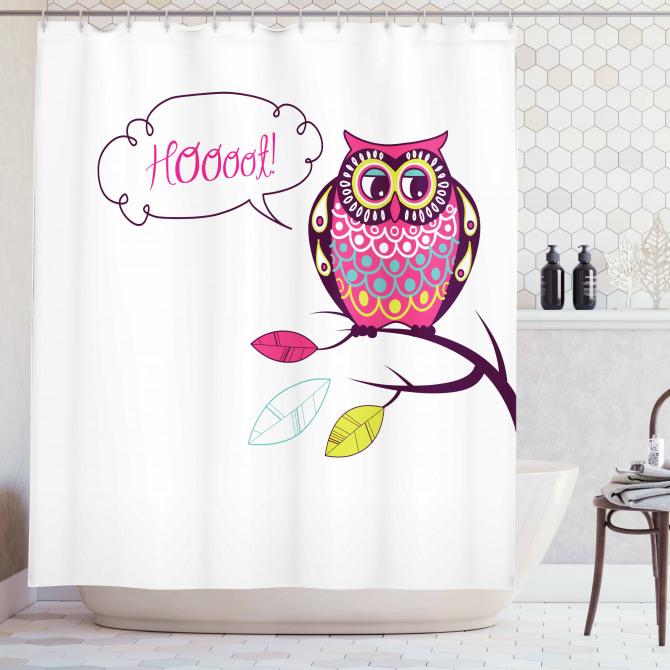 Süslü Baykuş Desenli Duş Perdesi Rengarenk Şık Trend