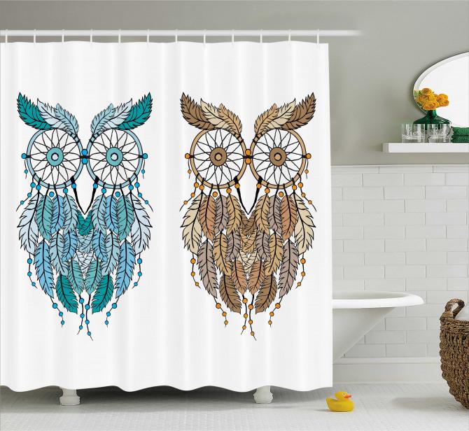 Baykuş Desenli Duş Perdesi Kahverengi Mavi Trend