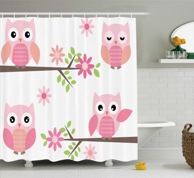 Çocuklar için Duş Perdesi Pembe Baykuş Desenli Çiçek