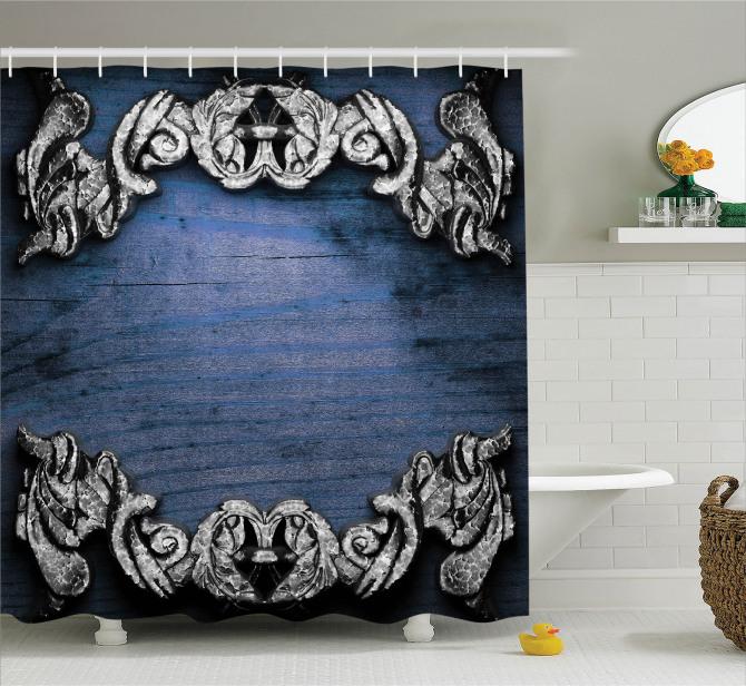 Viktoryen Temalı Duş Perdesi Barok Gotik Lacivert