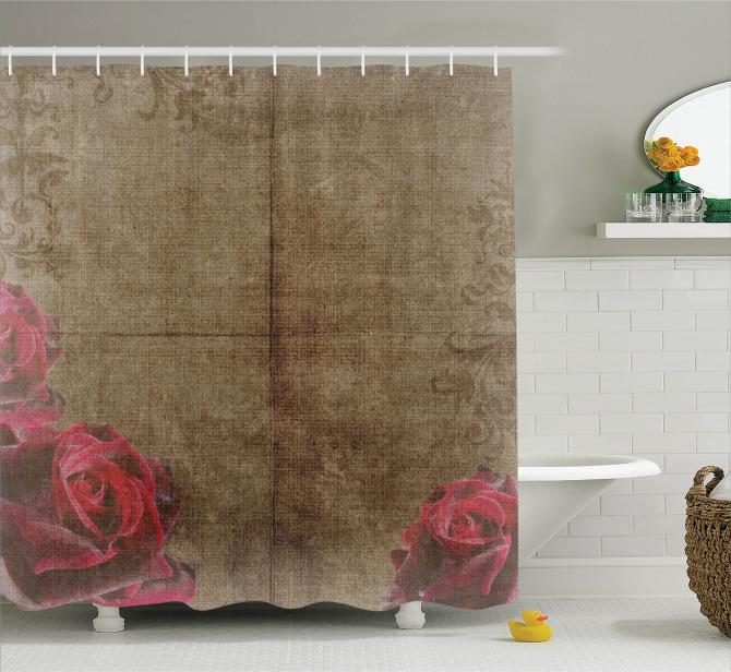 Romantik Gül Deseni Duş Perdesi Nostaljik Kahverengi