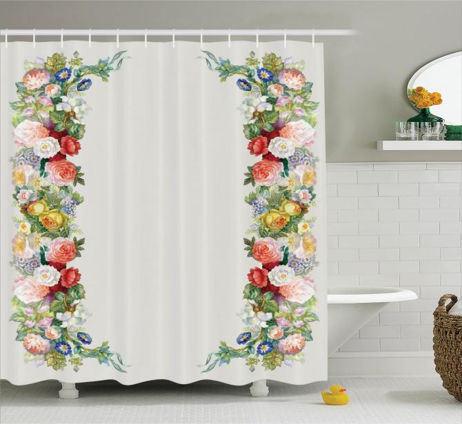Çiçek Bahçesi Temalı Duş Perdesi Rengarenk Romantik