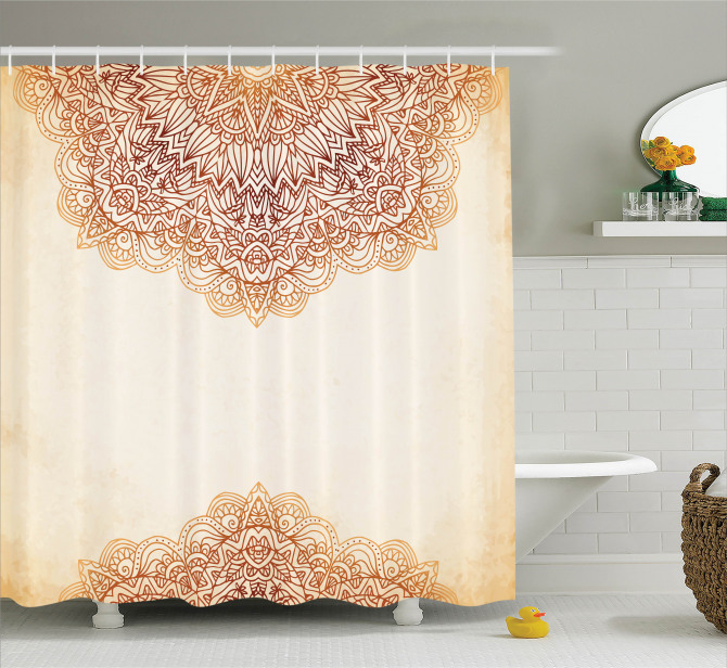 Mandalalı Duş Perdesi Retro Viktoryen Kahverengi