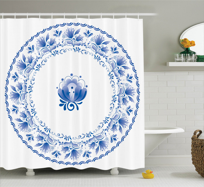 Mandala Desenli Duş Perdesi Nostaljik Mavi Çiçekler