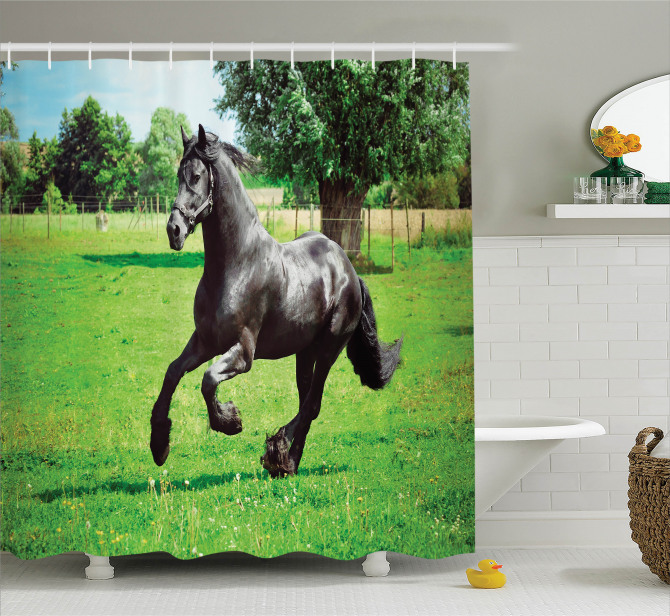 Yaban Hayatı Temalı Duş Perdesi Çayırda Koşan At