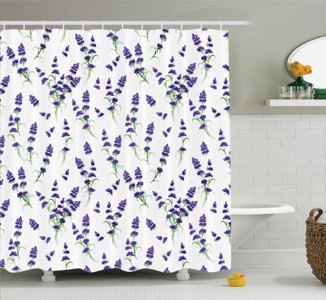 Lavanta Çiçeği Desenli Duş Perdesi Çeyizlik Mor Şık