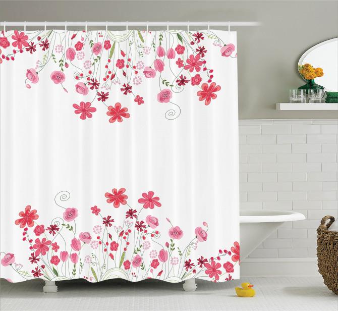Pembe Çiçek Desenleri Duş Perdesi Bahar Temalı Beyaz