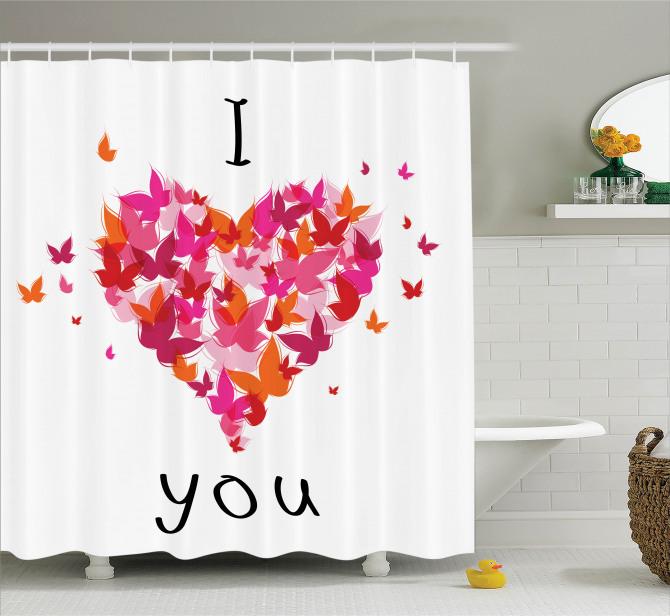 Aşk Temalı Duş Perdesi Rengarenk Kelebekler ve Kalp