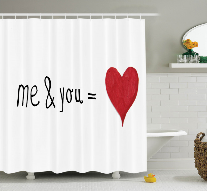 Aşkın Formülü Temalı Duş Perdesi Kırmızı Beyaz Kalp