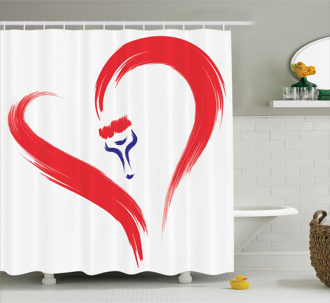 Hayatın Rengi Temalı Duş Perdesi Romantik Aşk Beyaz