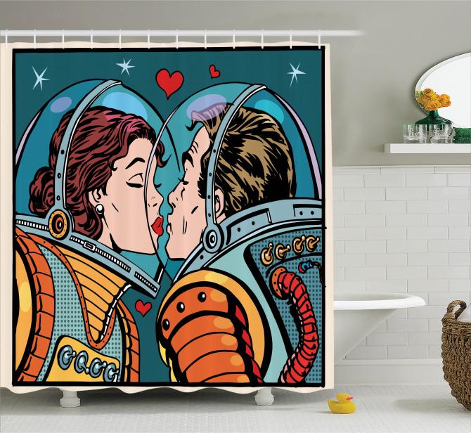 Uzayda Aşk Temalı Duş Perdesi Romantik Astronotlar