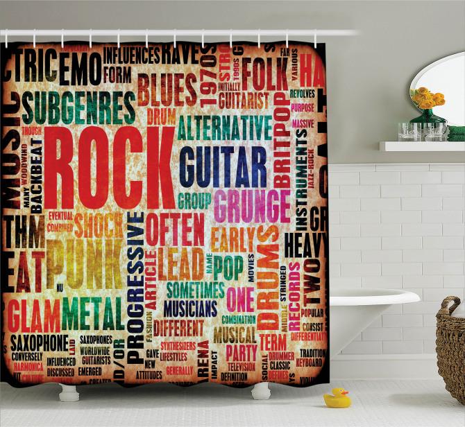 Rock Müzik Severler için Duş Perdesi Nostaljik