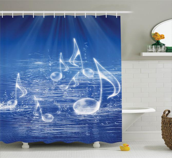 Müzik Severler için Duş Perdesi MelodiMavi Su Nota