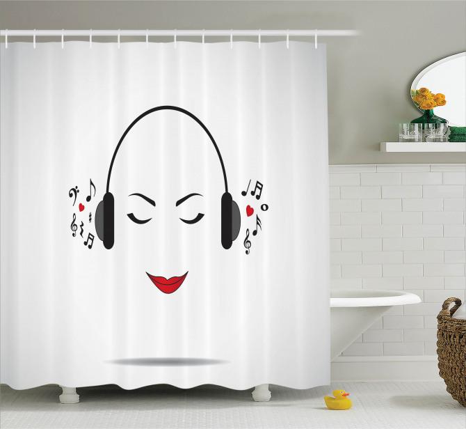 Müzik Severler için Duş Perdesi Beyaz NotaMelodi