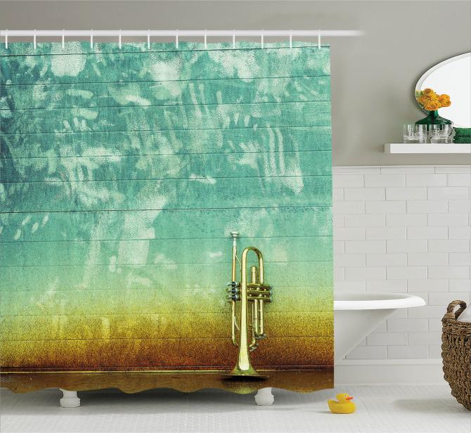 Caz Müzik Severler için Duş Perdesi Saksafon Yeşil