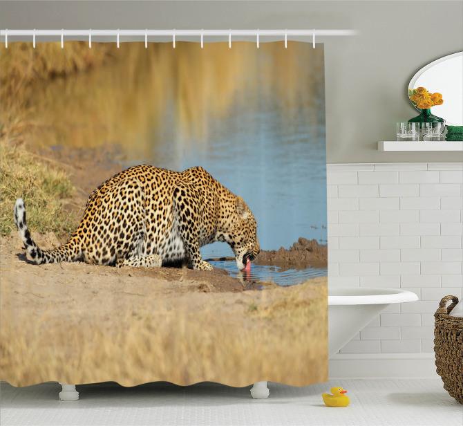 Afrika Yaban Hayatı Temalı Duş Perdesi Leopar Nehir