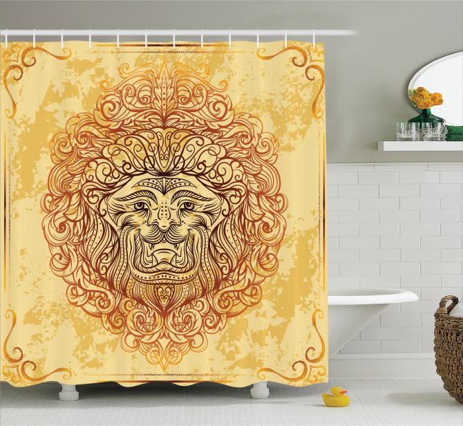 Sarı Duş Perdesi Etnik Süslemeli Aslan Modern Sanat