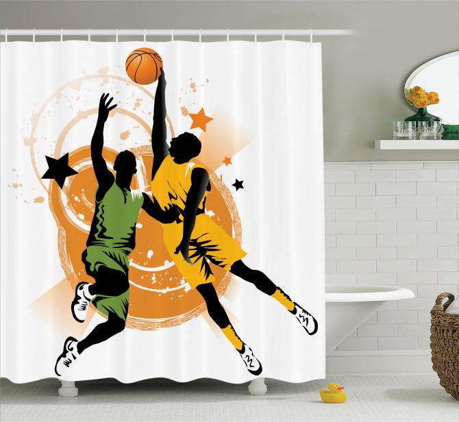 Çizgi Roman Tarzı Duş Perdesi Basketbol Spor Turuncu
