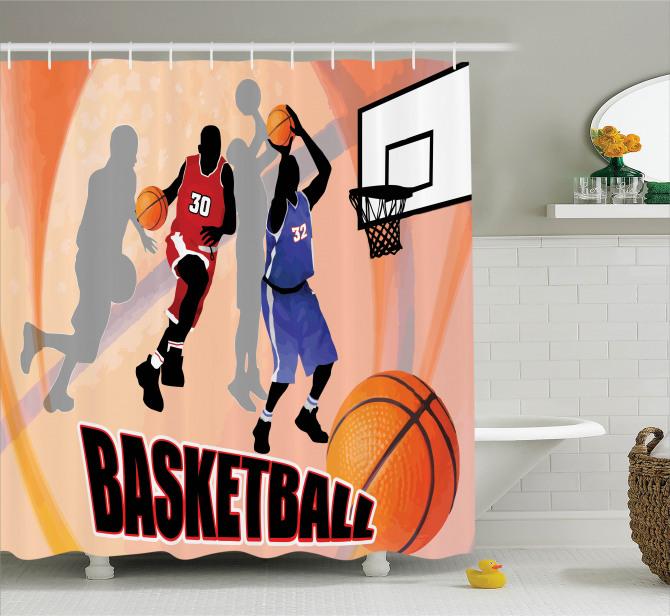 Basketbol Temalı Duş Perdesi Nostaljik Poster Etkili
