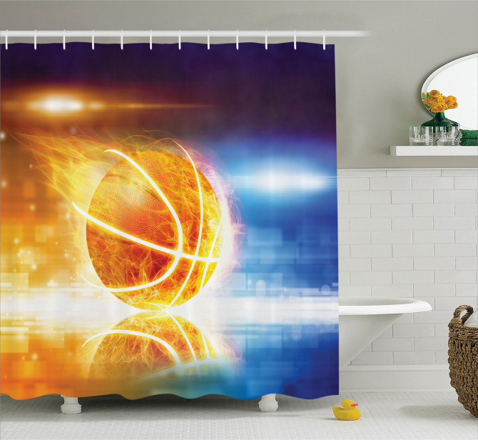 Basketbol Temalı Duş Perdesi Alev Alan Basket Topu