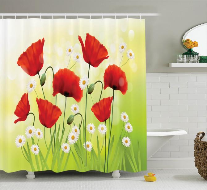 Bahar Çiçekleri Temalı Duş Perdesi Gelincik Papatya