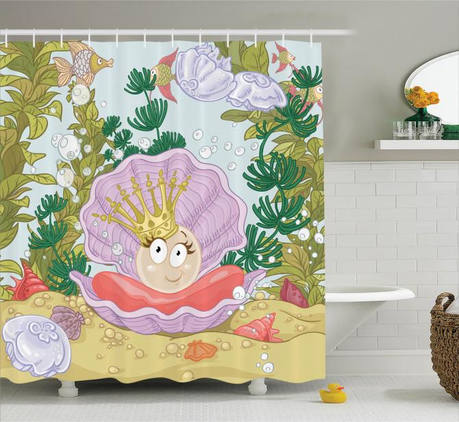 Çocuklar için Duş Perdesi Prenses İnci ve Balıklar