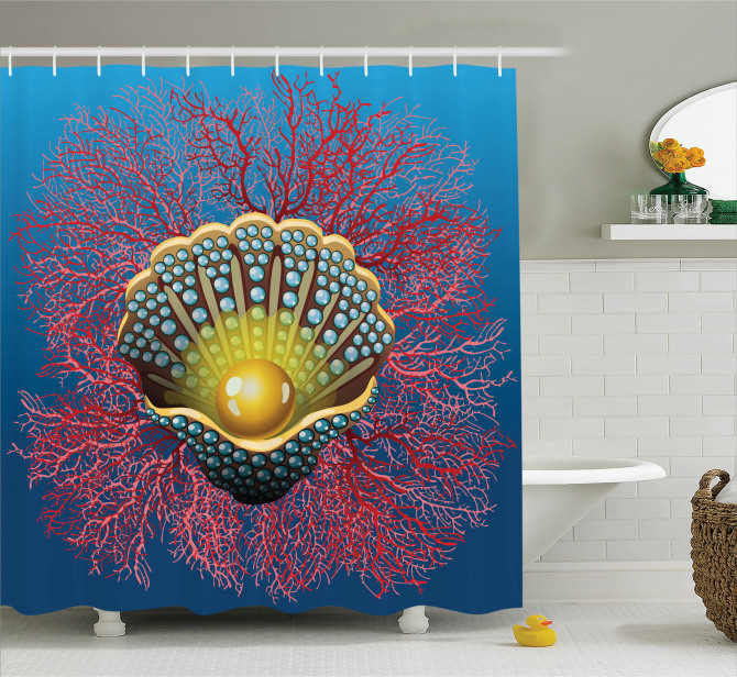 Sualtı Temalı Duş Perdesi İnci Mercan Kırmızı Mavi
