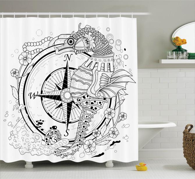 Seahorse Compass Shower Curtain