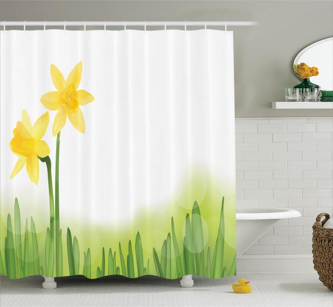 Bahar Temalı Duş Perdesi Sarı Nergis Çiçekli Tasarım