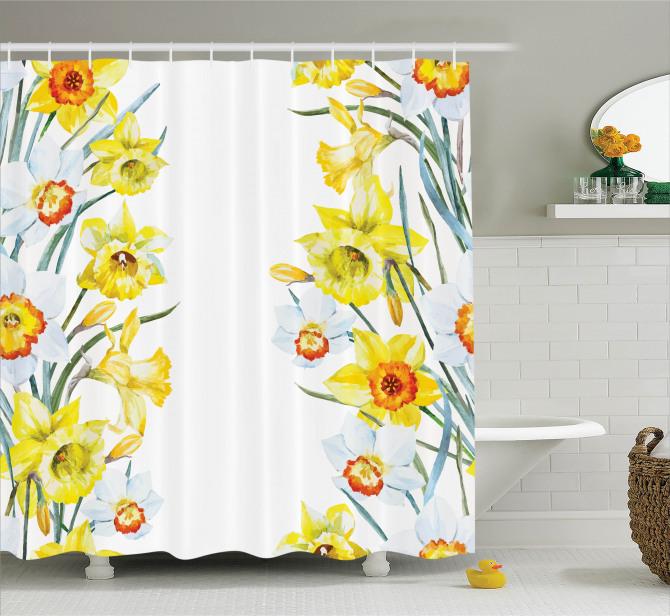 Suluboya Resmi Etkili Duş Perdesi Sarı Nergis Çiçeği