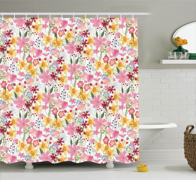 Bahar Temalı Duş Perdesi Pembe Sarı Çiçekli Tasarım